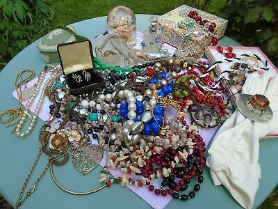 Antique/Vintage Lot of  Costume Jewellery with  SILVER  Large Collection