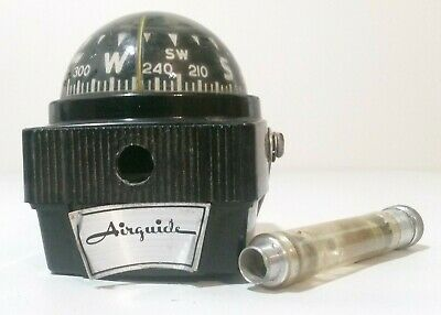 Vintage Airguide Compass, Mounting Bracket,  Light,  Silver Label