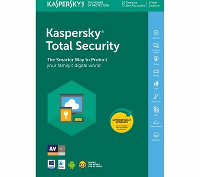 Kaspersky Total Security 2019-2020 10 Pc Devices 1 Year Antivirus