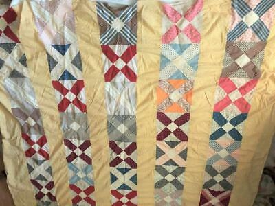 """Vintage 1930s Fabric Cotton Quilt Top 9 Patch Hand Sewn Yellow Calico 82""""x84"""""""