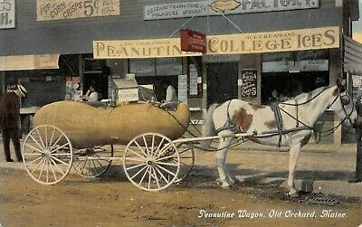 OLD ORCHARD, ME, HORSE DRAWN PEANUT WAGON, MOXIE & OTHER ADV SIGNS c 1907-14
