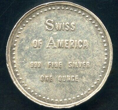 1 Oz. Swiss Of America .999 Fine Silver Round 25mm Dia. x 7mm Thick