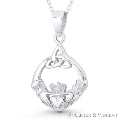 Irish Claddagh Heart Celtic Triquetra Knot Charm Pendant in .925 Sterling Silver