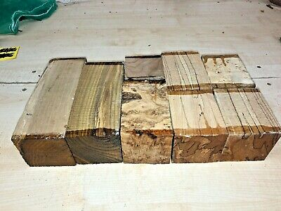 75Mm Squares 8Pcs Lot 608 Spalted Beech Acacia Woodturning Figured Timber Blank