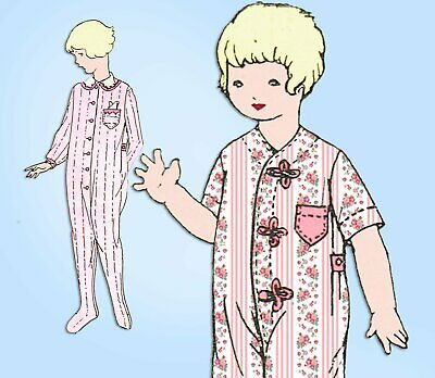 1920s Antique Butterick Sewing Pattern 6993 Toddlers Pajamas with Hood Size 2