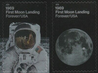 US 5399-5400 5400a 1969 First Moon Landing forever horz pair set MNH 2019