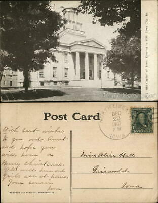1907 Iowa City,IA Old Capitol of Iowa Johnson County Antique Postcard 1c stamp