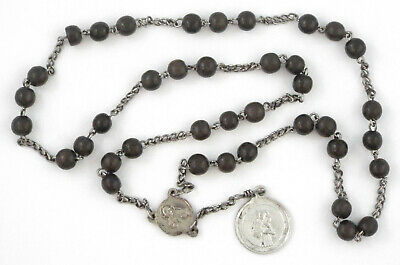 1800s - RARE ANTIQUE 39 BLACK BEADS ROSARY - France