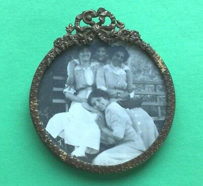 c1912 EARLY 20th cen ART NOUVEAU Floral Ribbon Small Metal PHOTO Picture Frame