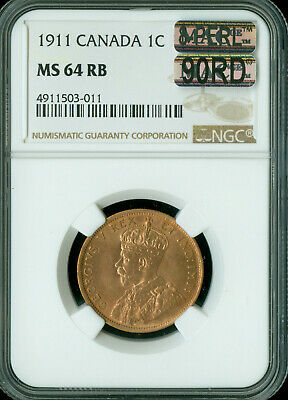 1911 Canada Large Cent Ngc Mac Ms-64 Rb 8-Perl 90Rd 90% Red 1St Strike *