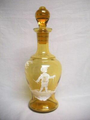 Vintage MARY GREGORY Hand Painted Enamel Art Glass DECANTER Bottle Child Boy