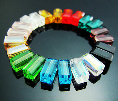 15PCS Pendant Beads Czech Mixed Crystal 8mm Cuboid Free findings color Jewelry