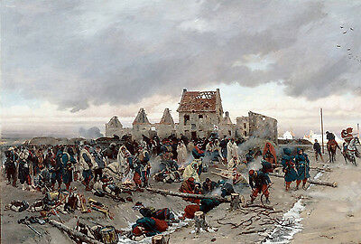 """perfect 36x24 oil painting handpainted on canvas """"camp after the battle """"@NO8127"""