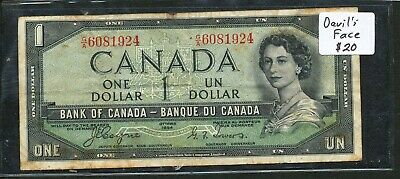 1954 $1 Bank of Canada - Devil's Face Hair type. Vintage banknote