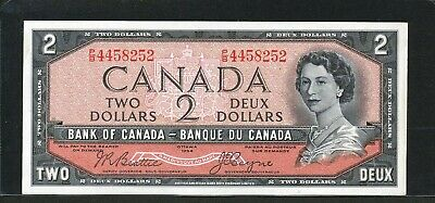 1954 $2 Bank of Canada - High Grade banknote, great centering and margins.