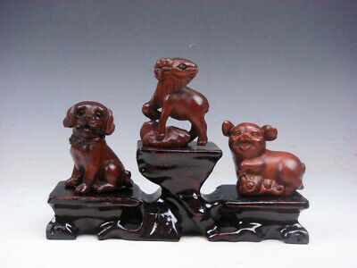 3 Japanese Boxwood Hand Carved *Puppy Goat Piggy* Netsuke w/ Wooden Stand