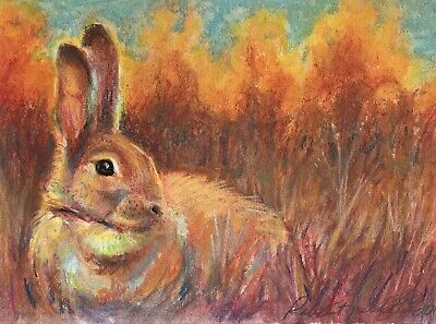 Original painting Rabbit bunny Sunset pastel fine Art listed direct from artist