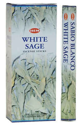 BOX Of 120 White sage HEM Incense Smudge Sticks from INDIA, 6 Tubes Of 20