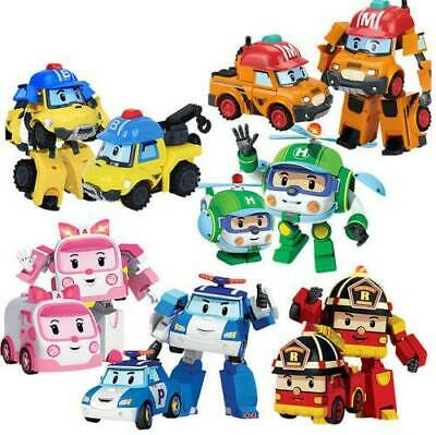 4pcs Kids Robocar POLI ROY AMBER HELLY Transformers Robot Car Figure Gift Toy