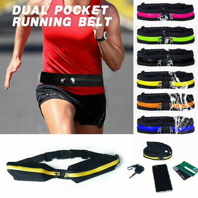 Singie/Dual Pocket Running Belt Adjustable Waist Bag for Outdoor Sports