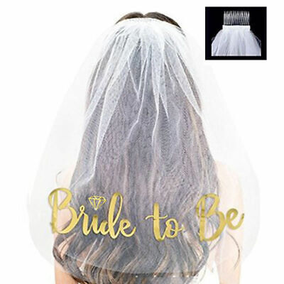 New Comb White Veil Gold Bride to Be Hen Night Wedding Party Accessories