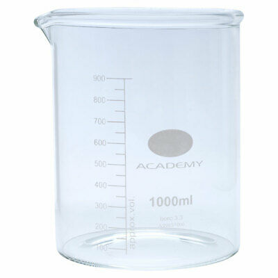 Academy Low Form Glass Beaker Heavy Wall 1000ml Pack of 6
