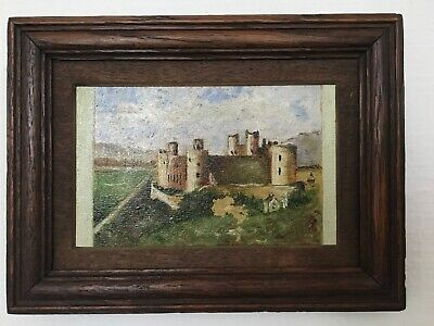 Antique Vintage Small Oil On Board Painting Of A Castle