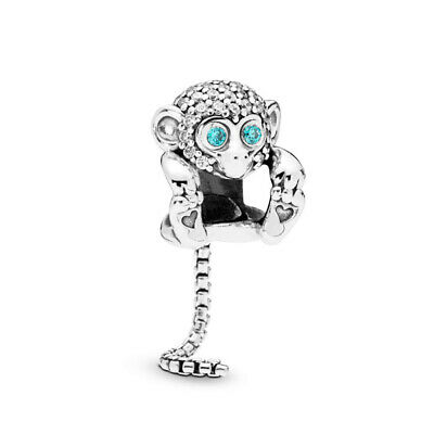 Authentic 925 Sterling Silver Sparkling Monkey Charm Bead Fit Original Bracelets