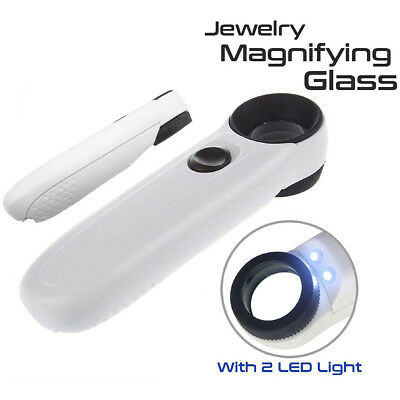 40X Magnifying Magnifier Glass Jeweler Eye Jewelry Loupe Loop W/ 2 LED Light BC