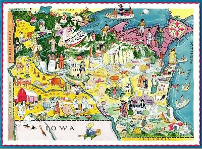1932 RARE Antique MINNESOTA WISCONSIN State Map Berta Hader Picture Map EBH 6732