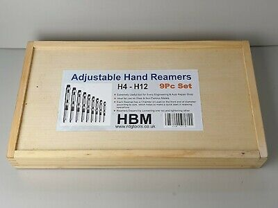 Adjustable Hand Reamers H4 - H12 9 Piece Boxed Set