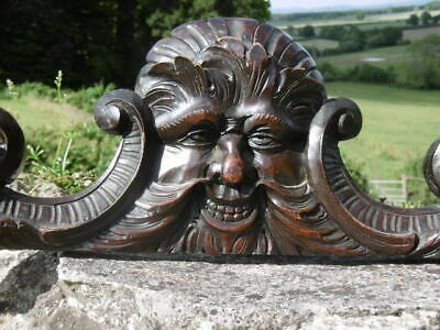 SUPERB 19thc GOTHIC OAK CARVED GREEN MAN PEDIMENT WITH SCROLLING C.1860