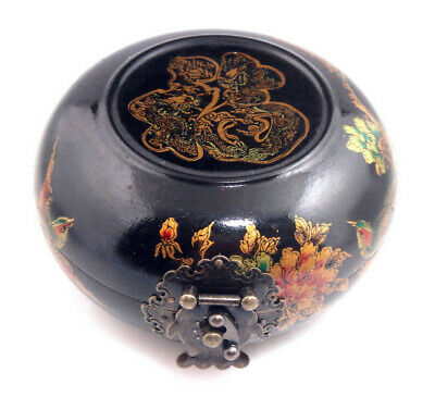 Wooden Crafted Black Glazed Round Jewelry Box Birds Flowers Blessing #06171901