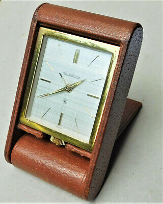 NO RESERVE PAPERWORK 1965 Jaeger LeCoultre 8-day Travel Desk Alarm Clock Vintage