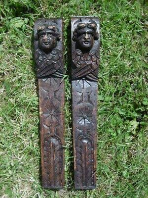 SUPERB Pr 18thc GOTHIC OAK CARVED WINGED CHERUB CORBELS