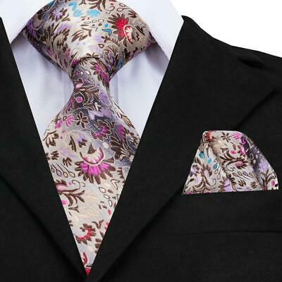 USA Classic Men's Silk Tie Purple Pink Novelty Party Necktie Hanky GP-006