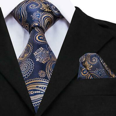 USA Classic Men's Silk Tie Blue Paisley Party Necktie Hanky Wedding GP-001