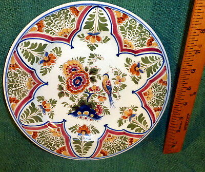 """Antique Delft Polychrome 9"""" Painted Plate With Bird - Artist Signed"""