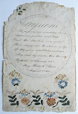 Antique 19th American 1824 Folk Art Watercolor PAINTING Drawing Valentine POEM