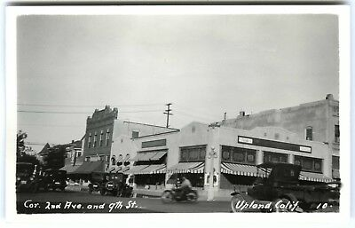 1920s UPLAND CA 2ND&9TH ST,CARS,MOTORCYCLE,REXALL DRUGS~RPPC REAL PHOTO POSTCARD
