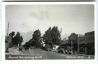 1920s UPLAND CA SECOND AVE,CARS,FORD DEALERSHIP,THEATRE~RPPC REAL PHOTO POSTCARD