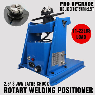 """Rotary Welding Positioner Turntable Table 2.5"""" 3 Jaw Lathe Chuck 2-18 RPM 10KG"""
