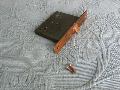 Antique Victorian Cast Iron Mortise Lock, 3 1/8 BY 3 1/2 Inches