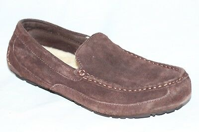 5d4f69264bf UGG AUSTRALIA ALDER Moc Brown Suede Sheepskin Slippers Men's 10