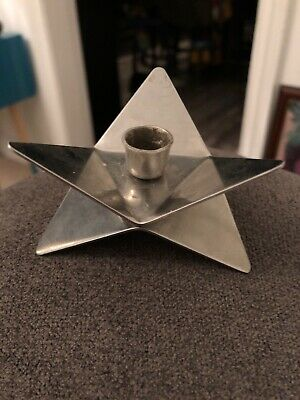 Vintage Mid Century Modernist Danish Style SatinSteel London Candle Holder Star