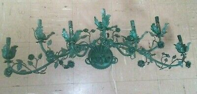 """Old Italian Tole 7 light 39"""" L Wall Sconce Green Leaves & Roses"""