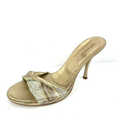 CANAPE Italian Gold Leather Slip On Slide High Heels Size 9 - 9.5 / 40