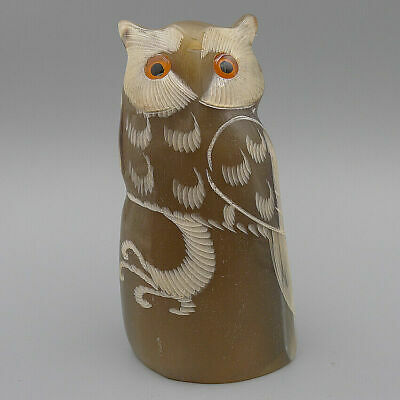 Hand Carved Owl Figurines Statue DIY Decorate Charm Crafts Pendants Natural Horn