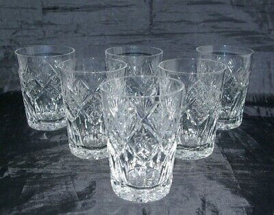 6 Tall Cut Crystal Whisky Tumblers Spirit & Mixer Double Old Fashioned Glasses