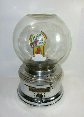 Vintage Ford Gumball Machine 1 Cent Coin Operated   T*